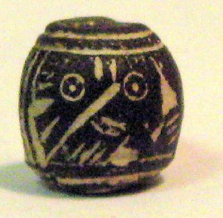 Pre - Columbian Black Bird Looking Backwards Spindle Whorl Guaranteed. Authentic photo