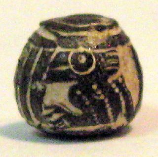 Pre - Columbian Black Small Standing Bird Spindle Whorl Guaranteed. Authentic photo