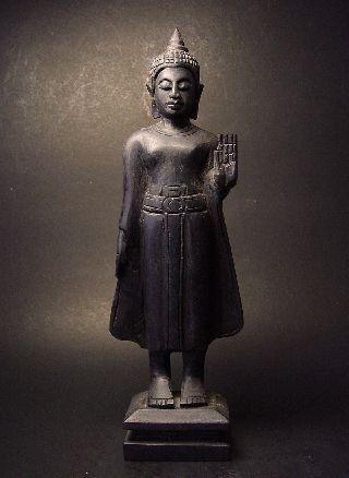 Rare Antique Siamese ' Blackwood ' Standing Sakyamuni Buddha. Lot 03 photo