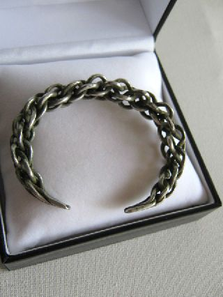 Unique 10th Century Ad Viking Solid Silver Plaited Wrist Torc. Very Rare photo