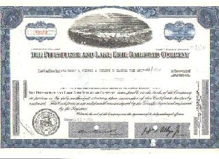 Old And Authentic Pittsburgh & Lake Erie Railroad Stock Certificate Blue Version photo