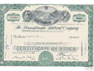 Authentic Pennsylvania Railroad Stock Certificate Horseshoe Curve Track Green photo