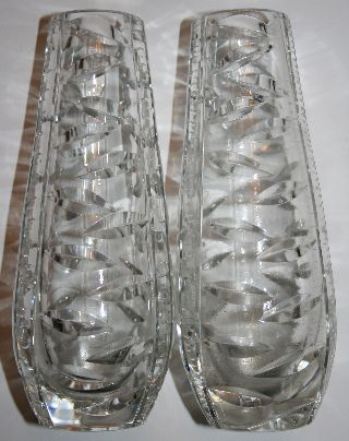 Pair Soviet Union/ussr Cut Crystal Vases Russian Pattern 1950s Antique Armenian photo