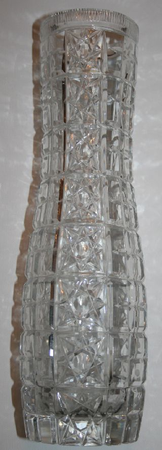Soviet Union/ussr Cut Crystal Tall Vase Russian Pattern 1950s Antique Armenian photo