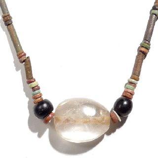 Ancient Egyptian Faience Mummy Bead & Large Quartz Crystal Stone Necklace Choice photo