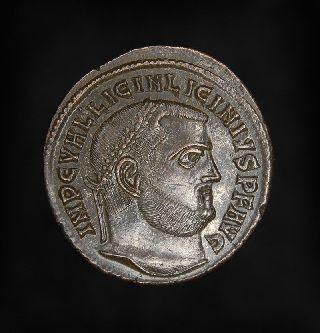 Ancient Imperial Roman Bronze Ae Follis Jupiter Coin Of Emperor Licinius I photo