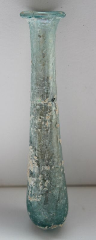 Good Ancient Roman Blue Glass Tear Flask 1/2nd Century Ad photo