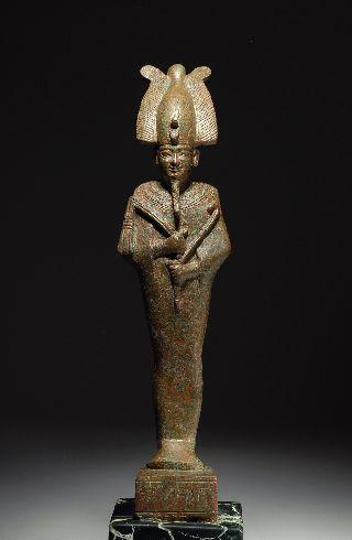 Very Fine Ancient Egyptian Bronze Solid Cast Osiris Figure - 600 B. C . photo