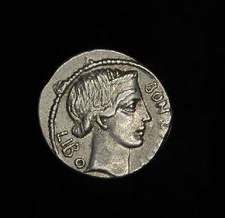 Ancient Roman Republic Silver Denarius Scribonius Libo Bonus Eventus photo