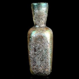 Ancient Roman Glass Bottle Highly Iridescent ~ Early Islamic Afghanistan 2. 61
