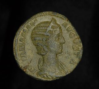 Ancient Roman Empress Julia Mamaea Sestertius Vesta Coin photo