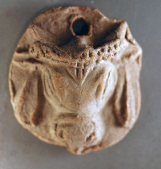 Pendant. Roman Clay With Bull ' S Head Over 1600 Years Old photo