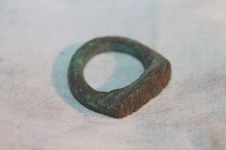 Ancient Roman Bronze Finger Ring 3/4th Century Ad photo