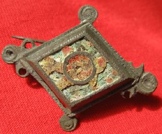 Ancient Roman Bronze Fibula With Pin / Colored Paste 46mm By 40mm 1109 photo