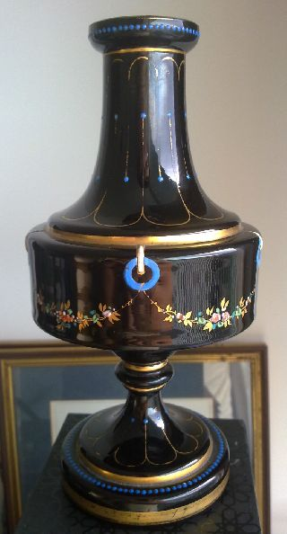 Ancient Victorian Neo Classical Hand Painted Black Glass Vase - Bohemian photo