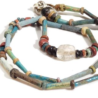 Ancient Egyptian Faience Mummy Bead & Quartz Crystal Stone Necklace Wearable photo