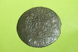 Authentic Medieval Jetton Cross Crown Fluer De Lis Coin Treasure Antique Token photo