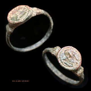 Ancient Roman Bronze Seal Ring Mels - Antiquities photo