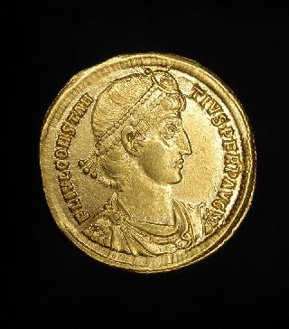 Ancient Roman Gold Solidus Coin Constantius Ii photo