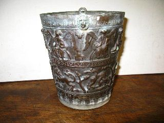 Antique Brass Bronze Pail - Planter ? W/ Latin + Christian Symbolism Hearaldry photo