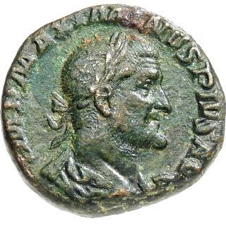 Maximinus I Salus Feeding Snake Ancient Roman Coin Sestertius Big 25mm 20g 236ad photo
