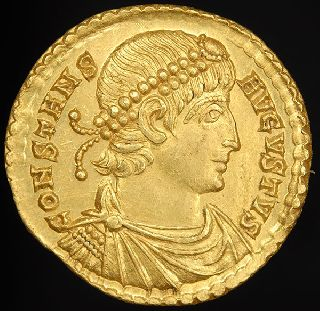 Gold Emperor Constans Solidus Coin. Trier Mint photo