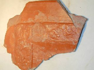 Ancient Roman Pottery Large Plate Section Putti 4th Ad photo