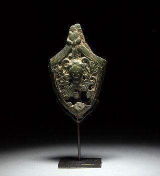 Ancient Viking Medieval Bronze Sword Chape - Odin photo