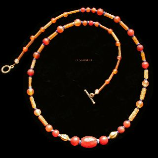 Ancient Roman Glass Carnelian Lapis Lazuli Gold Necklace 1 - 3 Ad Jewellery R28 photo