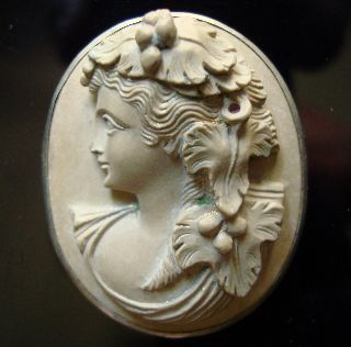 Lava Cameo - Roman Style 19 Cent Silver Ringed 4. 1/3. 4 Cm - 1. 2/3 By 1. 2/5