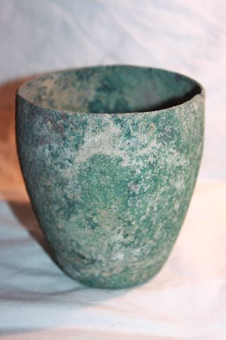 Ancient Roman Bronze Beaker Cup 1/2nd Century Ad photo