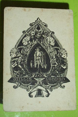 Authentic 1869 - 1892 Playing Card Poker Ace Spades W H Willis & Co Old Antique photo