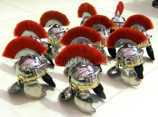 Mini Roman Centurion Armor Helmet With Red Plume Set Of 10 Pcs Home/office Decor photo