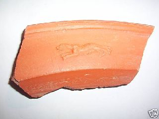 Roman Red Ware Decorated Pottery Shard C.  (4th A.  D.  Running Leopard. photo