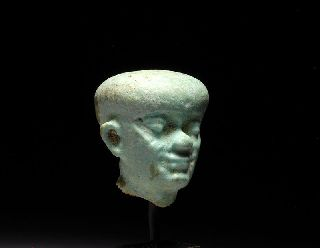Ancient Egyptian Faience Head Of Ptah Amulet photo