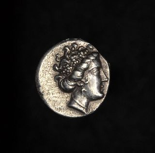 Ancient Greek Silver Tetrobol Coin Euboea Histiaea Nymph photo