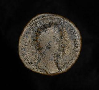 Ancient Roman Marcus Aurelius Augustus Sestertius Coin - Lucius Verus photo