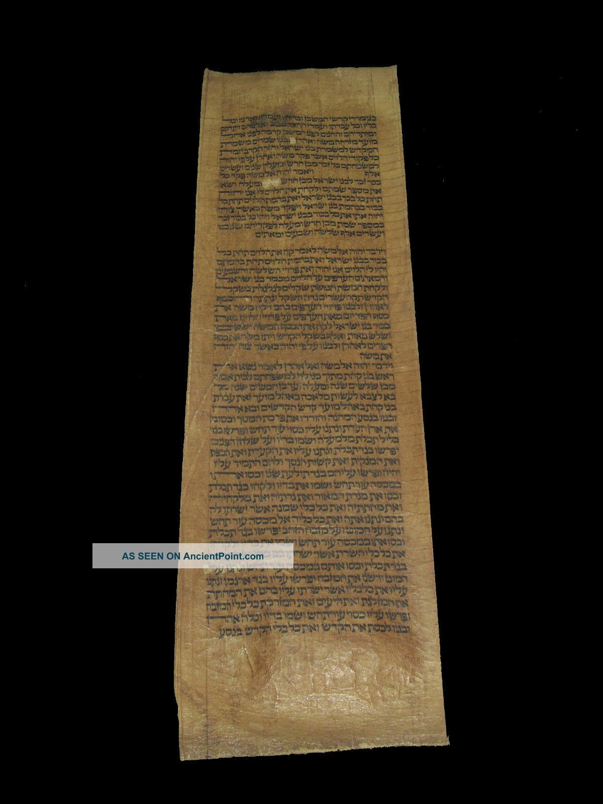 Torah Scroll Bible Manuscript Fragment Judaica 350 Yrs Morocco Middle Eastern photo