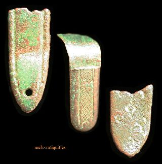 3 Ancient Roman Bronze Strapends Mels - Antiquities photo