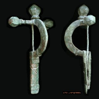 Large Roman Bronze Crossbow Fibula photo
