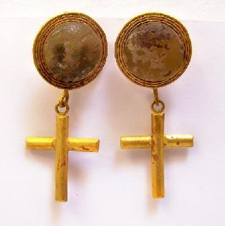 Ancient Pair Of Roman Gold Earrings W Cross photo