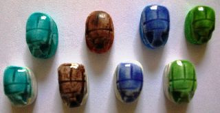Lot 0f 24 Egypt Scarab Hand Made,  Egyptian Beads,  Ägypten,  Egipto photo