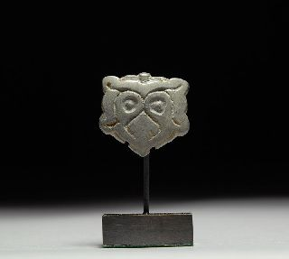 Ancient Medieval Viking Tinned Bronze Owl Wolf Decorative Attachment photo