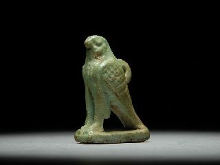 Ancient Egyptian Faience Amulet Of A Horus As Falcon photo