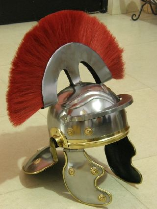 Roman Centurion Armor Helmet With Red Plume Collectible Roman Armory Larp Gift photo