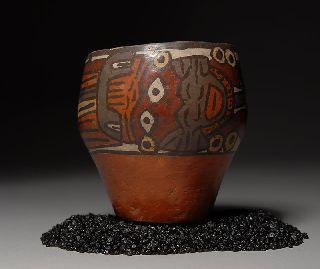 Pre Columbian Nazca Polychrome Pottery Mythical Vase photo