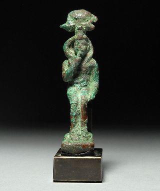 Ancient Egyptian Bronze Statue Of Harpocrates / Horus photo