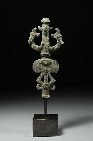 Ancient Iron Age Luristan Anthropomorphic Standard Finial photo
