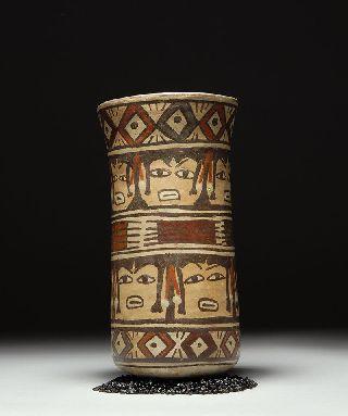Published Pre Columbian Pottery Nazca Head Hunter Beaker photo