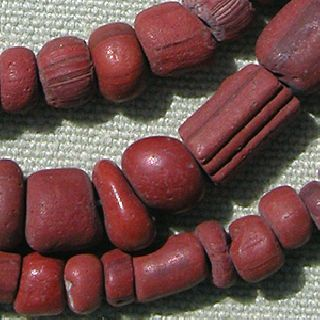 A Strand Of Small Ancient Brick Red Glass Djenne Beads From Mali 55 photo